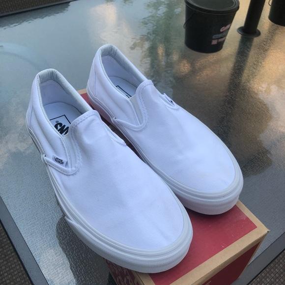 Vans Shoes | White Slip On Womens Size